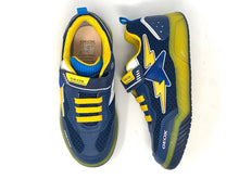 Load image into Gallery viewer, Navy Blue Boys' Trainers with Lightning Stripe Pattern