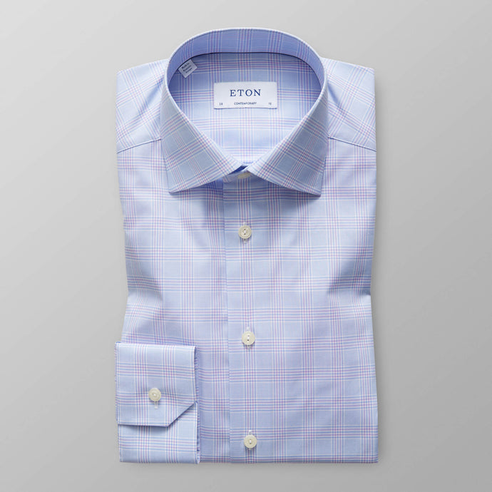 10000009073 Eton Check Sky Blue & Purple Fine Twill Mens Shirt stocked online ireland