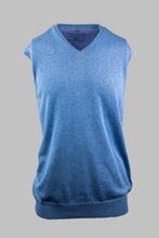 Load image into Gallery viewer, Fynch-Hatton 1121 214 612 | Superfine Cotton V-Neck Sleeveless Jumper in Soda Blue