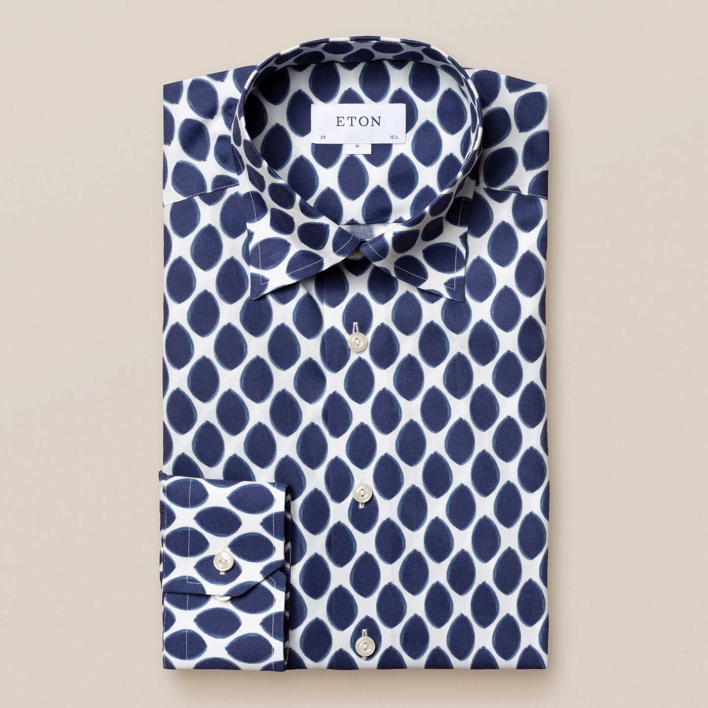 100001119 Eton Watercolour Navy Dots Men's Shirt stocked online ireland