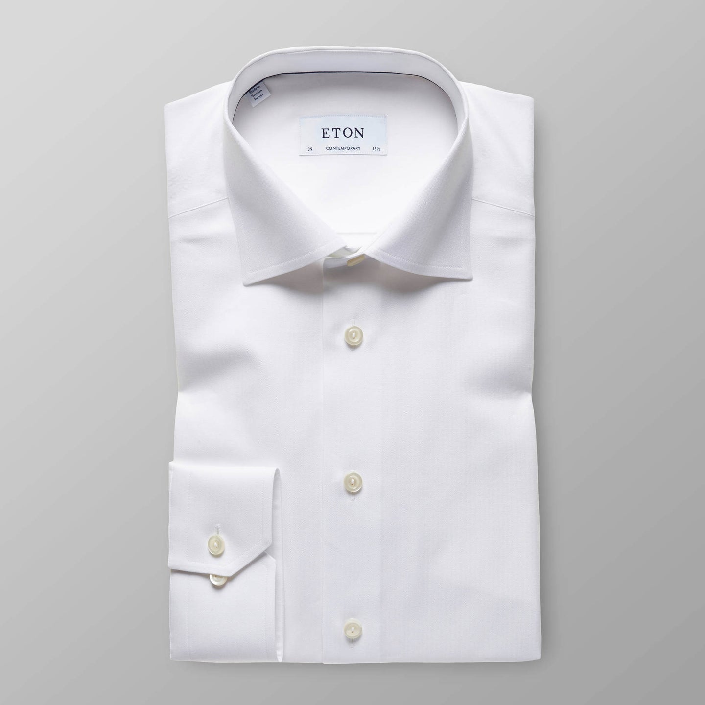 30727931100 Eton Men's White Shirt Herringbone Cotton-Tencel stocked online ireland