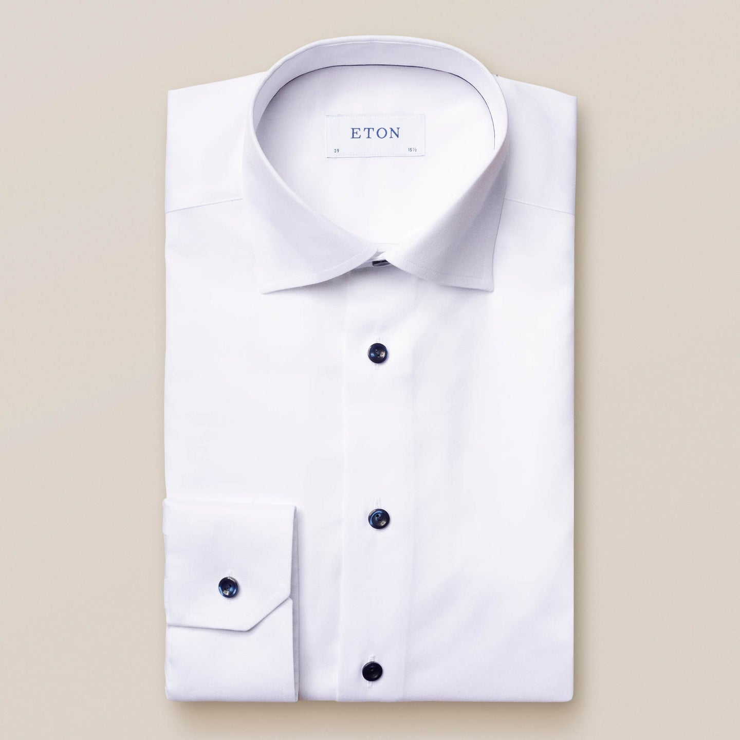 30000051800 Eton White Twill Slim Fit Mens Shirt with Navy Detailing for sale online ireland