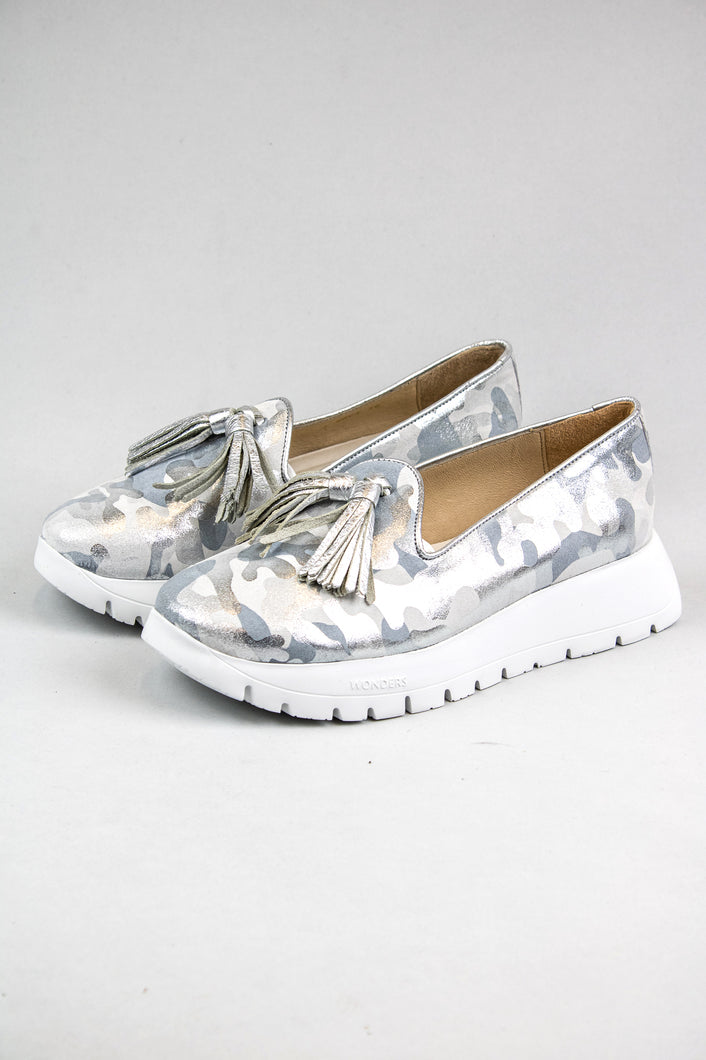Wonders Embossed Leather Moccasin A2404 Silver for sale online Ireland