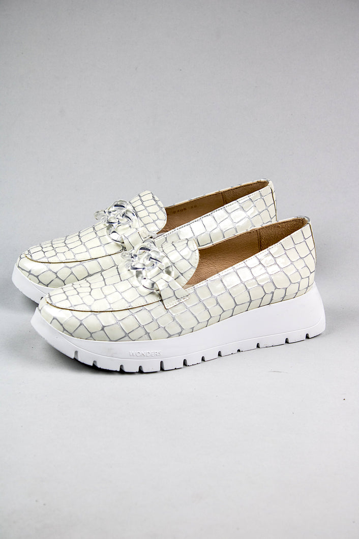 Wonders Platform Slip On Shoes A2405 Off White croc print for sale online Ireland