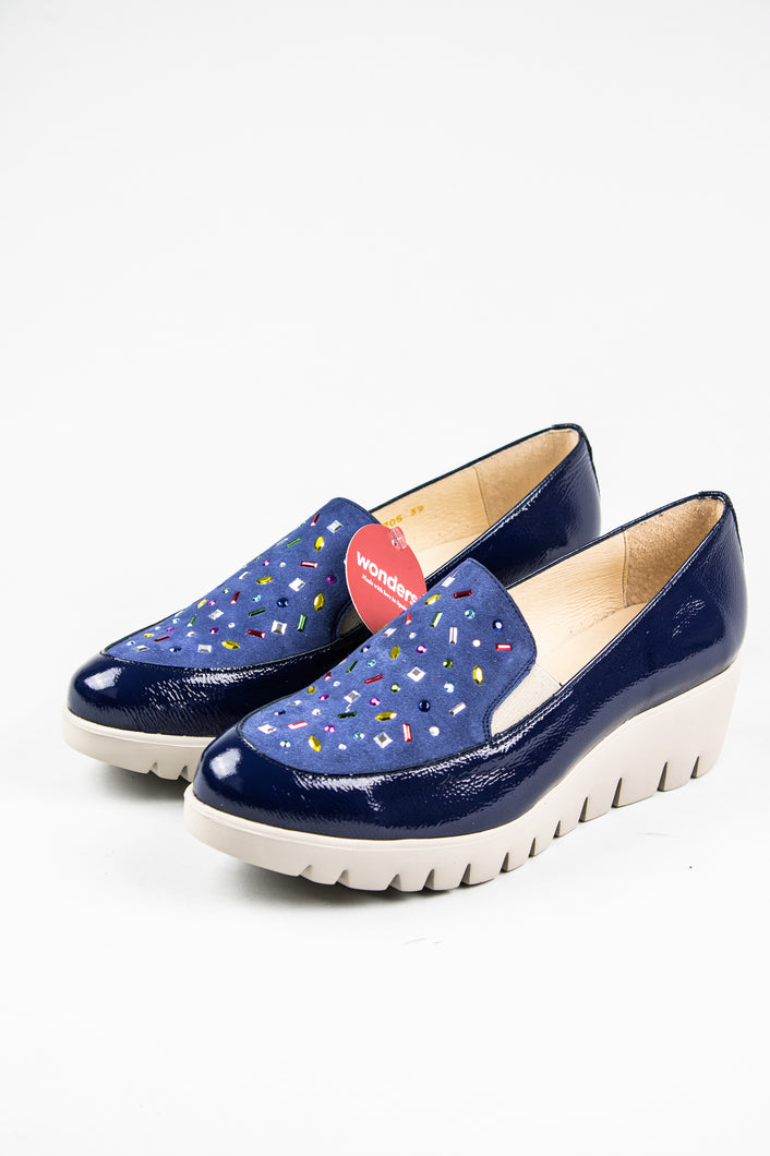Wonders Platform Slip On Shoes C33205 Navy for sale online Ireland