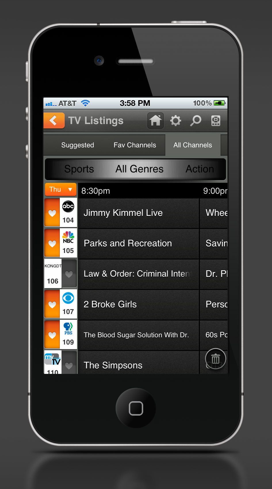 TV Listings UI design by Rick Murphy
