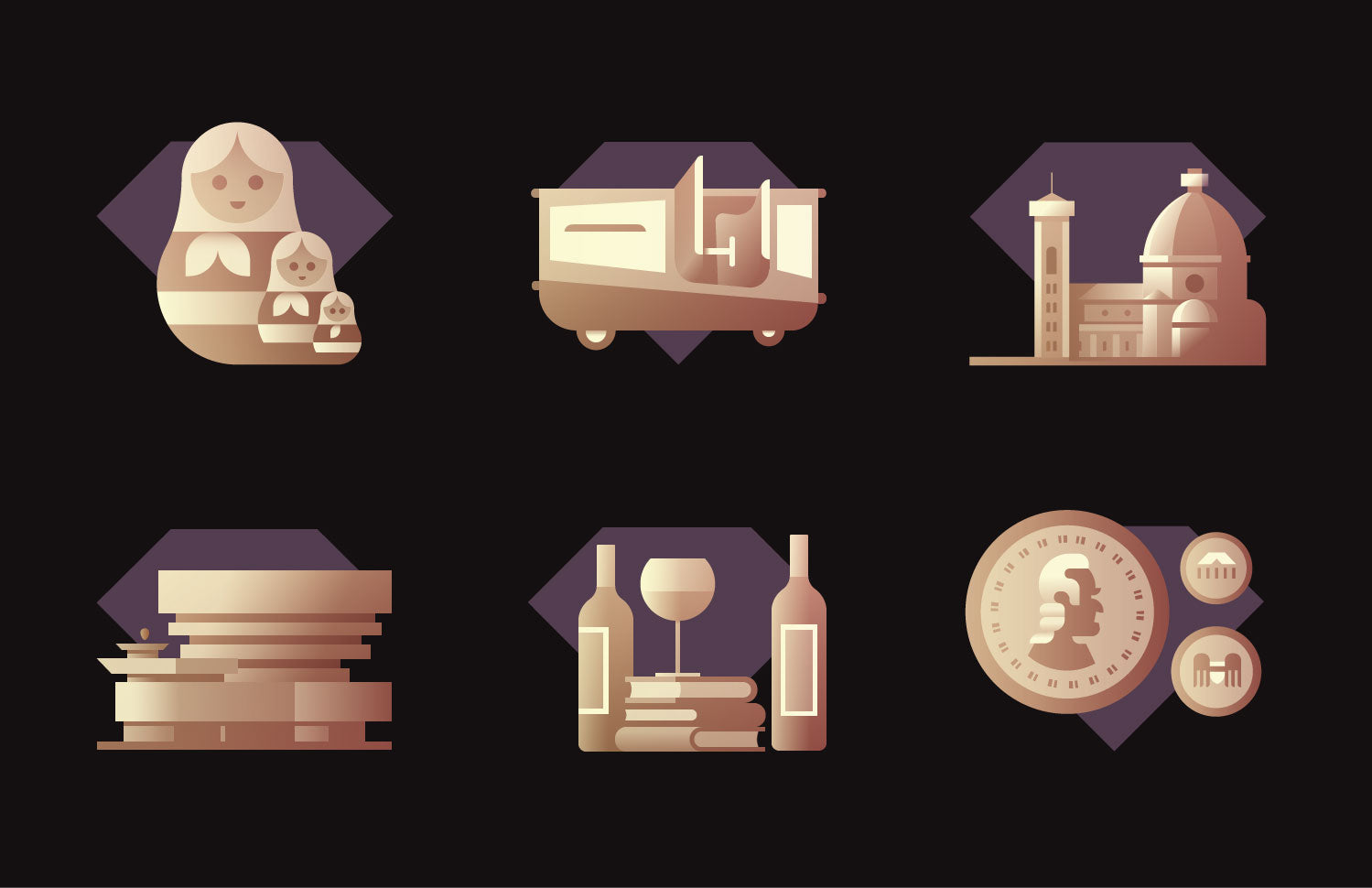 Rick Murphy illustrated badge icon set