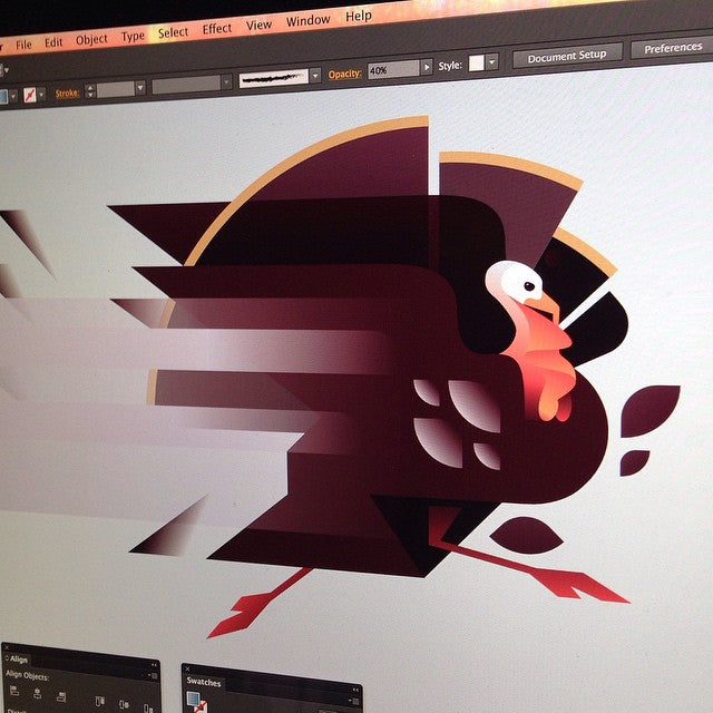 Rick Murphy turkey running illustration
