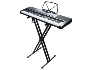 61 Key Full Size Electronic Keyboard Light Up Keys Note Stand MK2108 & Double Braced Stand Pack