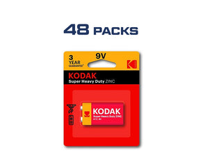 Kodak 9V 48 Pack Single Heavy Duty Zinc 1.5V Low Drain Battery