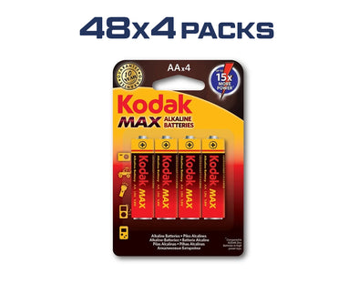 AA Kodak Max 192 Pack Alkaline 1.5V Low Drain Batteries