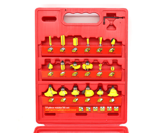 18 Piece Router Bit Set Straight Roundover Roman Ogee V-Groove Woodworking Tools S783