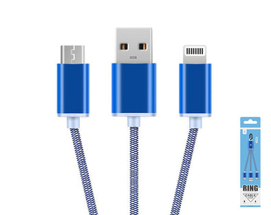2in1 Lightning/Micro-USB to USB Keyring Data Cable 8047