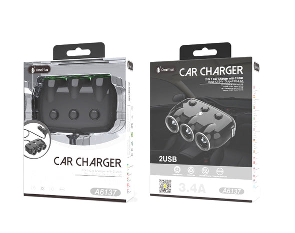 2 in 1 Car Charger with Dual USB 12-24V 3.4A Black A6137