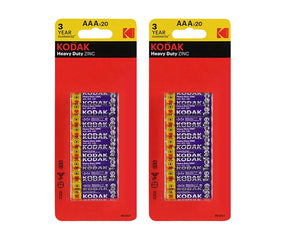 AAA Kodak 40 Pack Heavy Duty Zinc 1.5V Low Drain Batteries