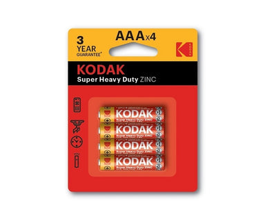 AAA Kodak Max 4 Pack Super Heavy Duty Zinc 1.5V Low Drain Batteries