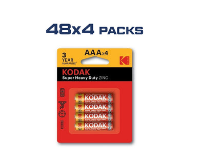 AAA Kodak Max 192 Pack Super Heavy Duty Zinc 1.5V Low Drain Batteries