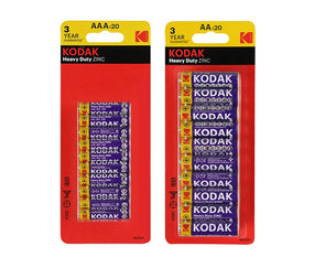 Multi Pack Kodak 20xAA 20xAAA Heavy Duty Zinc 1.5V Low Drain Batteries