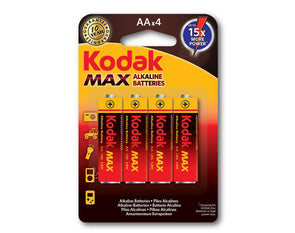 AA Kodak Max 4 Pack Alkaline 1.5V Low Drain Batteries