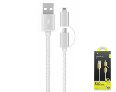 2in1 Lightning/Micro-USB Data Cable For iPhone 1m 1.5a AU405