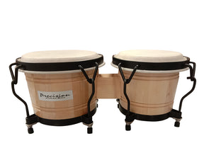 "6.5"" 5.5"" Set Of Bongo Drums Hand Percussion Natural Finish Tunable BONGO1"