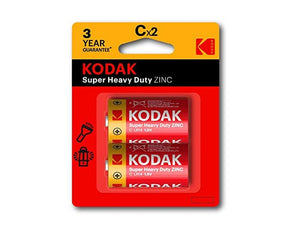 C Kodak 2 Pack Super Heavy Duty Zinc 1.5V Low Drain Battery
