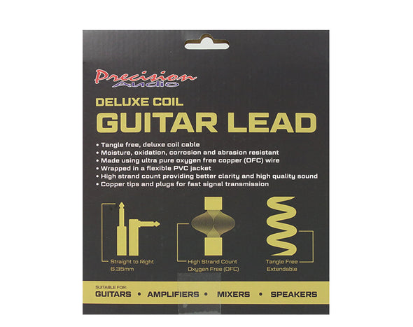 "5 Pack 1/4"" To 1/4"" 6.35mm Deluxe Coil Guitar Lead GLEADC10 10m"