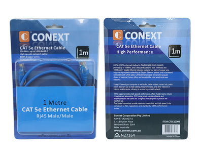 Ethernet Cable 1m CAT5e RJ45 Male/Male CAT5-5