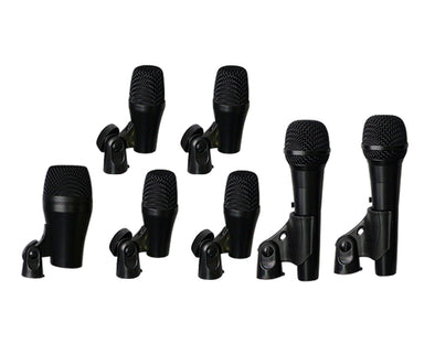 7 Piece Drum Microphone Kit Bass Snare Tom Overhead Mics PGAD7