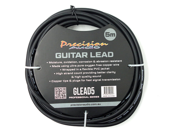 "1/4"" To 1/4"" 6.35mm Studio Stage Guitar Lead 5m GLEAD5"