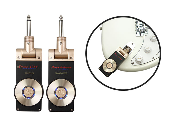 Precision Audio 2.4Ghz Wireless Guitar Transmitter and Receiver (Golden Plug)