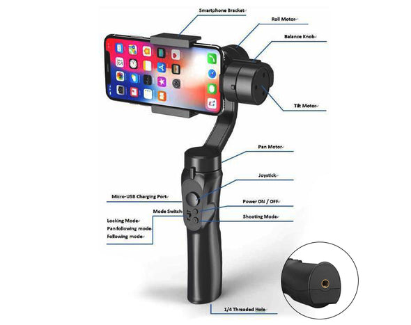 3-Axis Smart Phone Gimbal Stabiliser Built-In Gyroscope H4