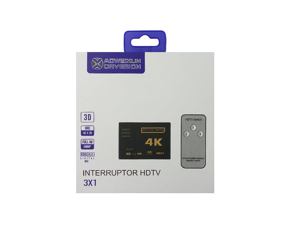 3-Way HDMI Switch with Remote Control