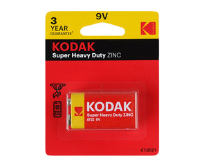 9V Kodak Single Heavy Duty Zinc 1.5V Low Drain Battery
