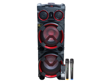 Portable Bluetooth Party Speaker Tower with Flashing Lights Dual Wireless Microphones LG103B