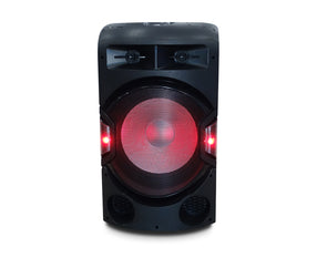 All In One Dual Bluetooth Party Speaker Tower Flashing Light Dome Twin Wireless Microphones LG313