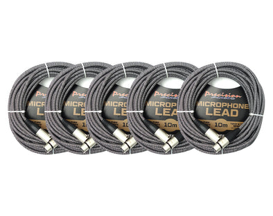 5 Pack XLR to XLR Braided Microphone Lead Low Noise MLEADWEAVE10 10m