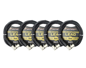 5 Pack XLR To XLR Studio Stage Microphone Lead 5m MLEADP5