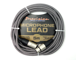 XLR to XLR Braided Microphone Lead Low Noise MLEADWEAVE5 5m