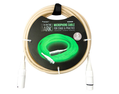 XLR To XLR Microphone Glow In The Dark Lead 5m MLEADGLOW5