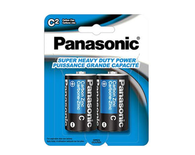 C Panasonic 2 Pack Heavy Duty Zinc 1.5V Low Drain Batteries