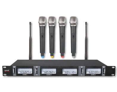 4 Channel UHF Wireless Microphone System Rack Mount LCD Display TMK04
