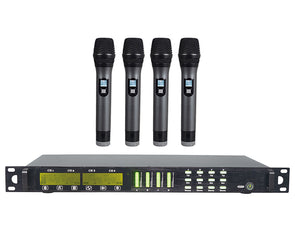 4 Channel UHF Wireless Microphone System Rack Mount LCD Display TMUS04