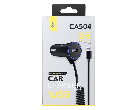 Car Charger with Lightning Cable and USB Input CA504