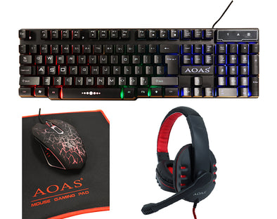RGB Four Piece Gaming Set Keyboard Mouse Pad Headphones S750