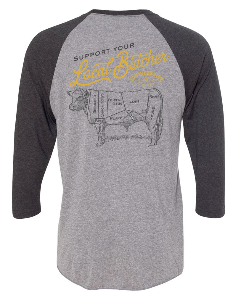 Support Your Local Butcher Baseball T-Shirt