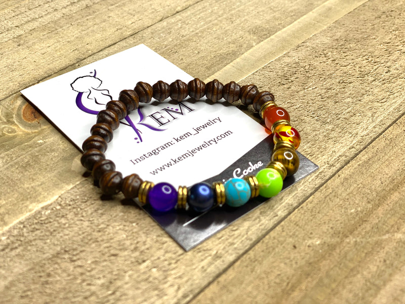 Small Wooded Chakra Bracelet