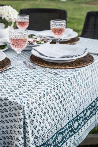 Pine Cone Teal Tablecloth