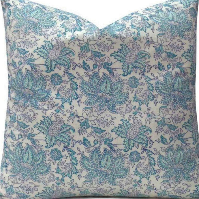 blue and white cushion