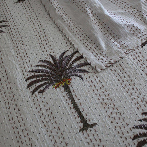 Brown Palms Kantha quilt - Queen/King